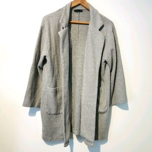 Zara gray large open front wool blend coat